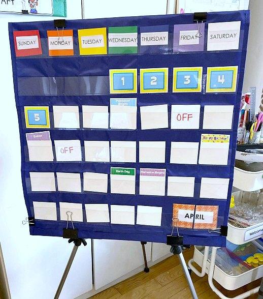 A calendar and a DIY Home School Classroom