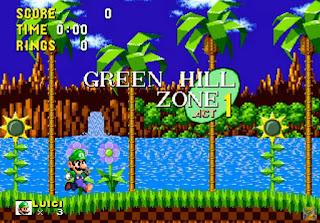 Jogue Luigi in Sonic 1 rom Genesis online