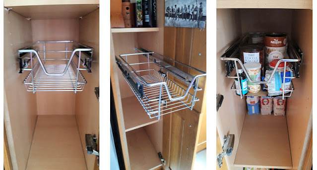 Three images showing a chrome basket fitted inside a cupboard.  The left image is the basket pushed into the cupboard, the centre image is the basket pulled out of the cupboard and the right image is the basket filled with baking ingredients.
