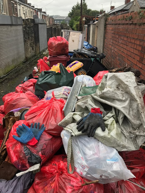 a pile of 120+ rubbish bags which are the result of a community clean up