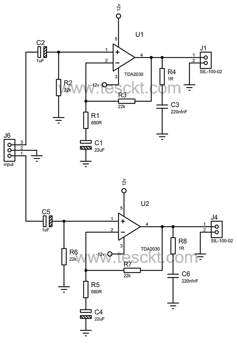 tda2030 stereo amplifier circuit
