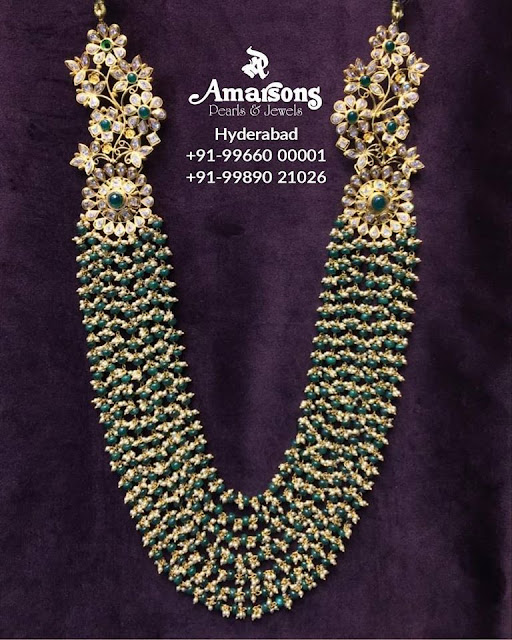 Emerald Beads Pearls Haram by Amarsons
