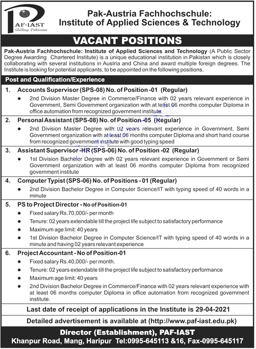 Institute of Applied sciences and Technology jobs 2021