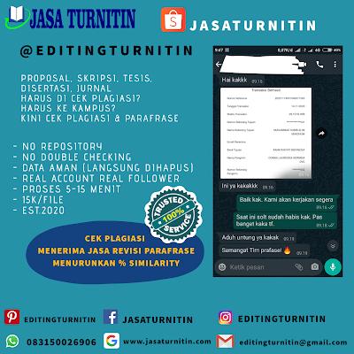 Jasa Cek Plagiasi Turnitin Online Tercepat Di Kalimantan Barat