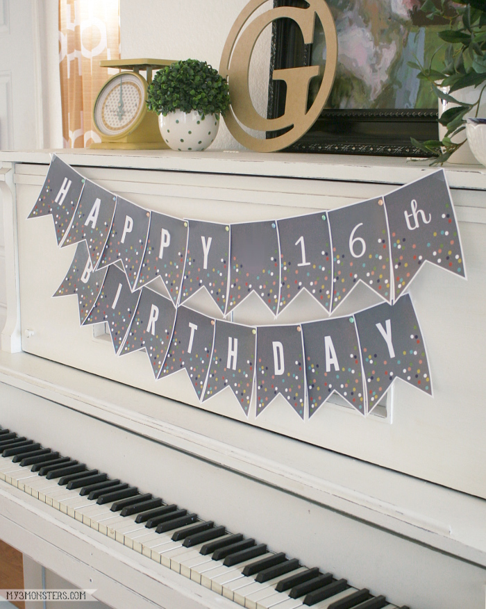 Adorable set of Printable Confetti Banner letters by my3monsters.com for Lolly Jane.