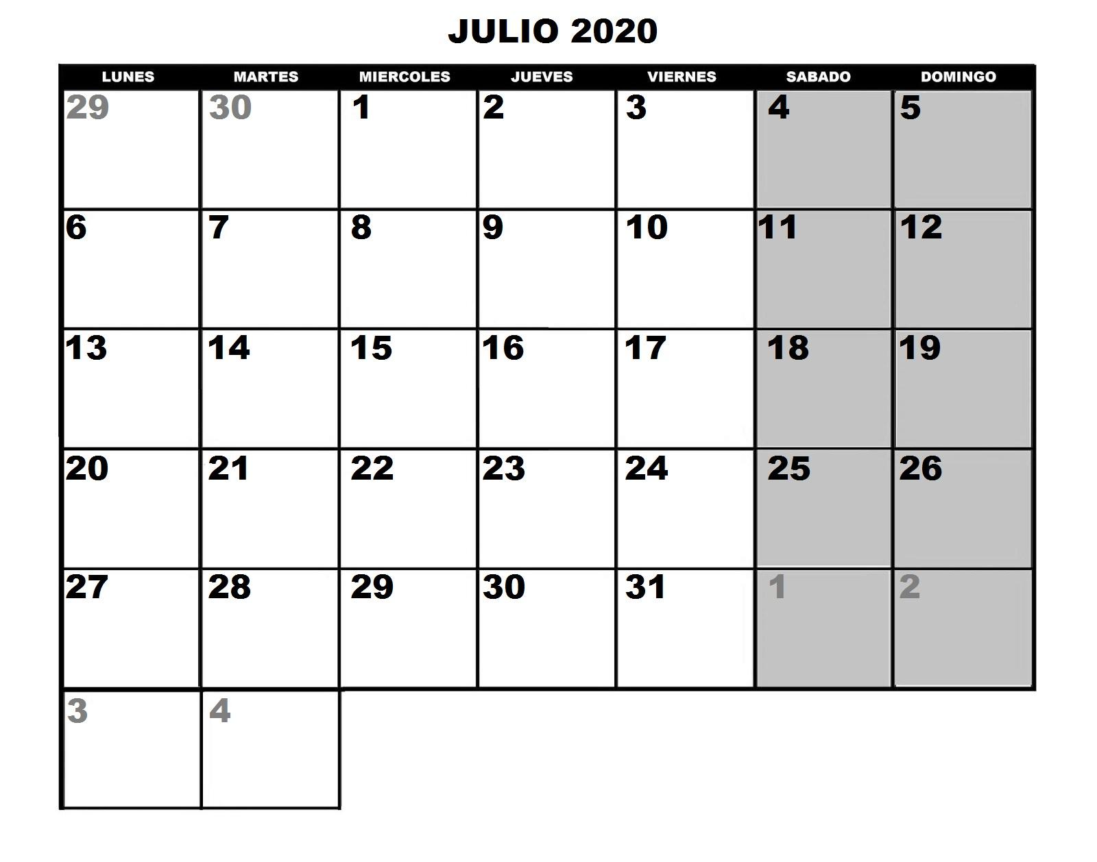 Calendario Julio 2020 Para Imprimir.Tornadojack Calendario 2020 Para Imprimir Y Poner Fotos A Cada