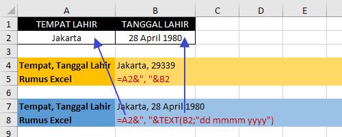 Cara menggabungkan tempat dan tanggal lahir di excel 1