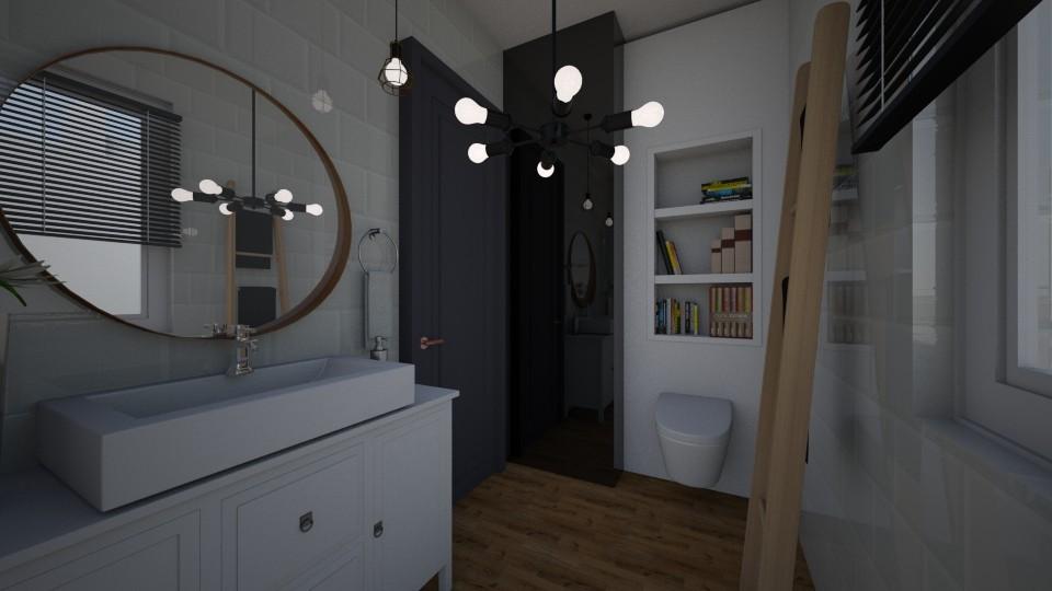 Czerń Biel I Drewno Połączenie Idealne Do łazienki Kingi I