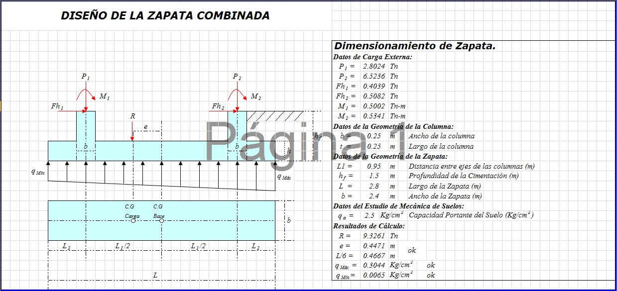 Excel para Diseño y dimensionamiento de zapata combinada