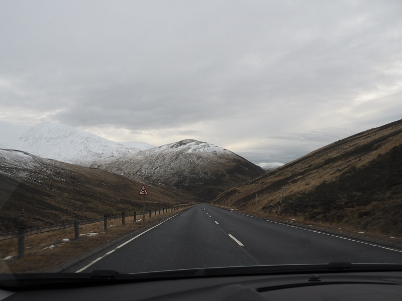 The drive to Glenshee Ski centre