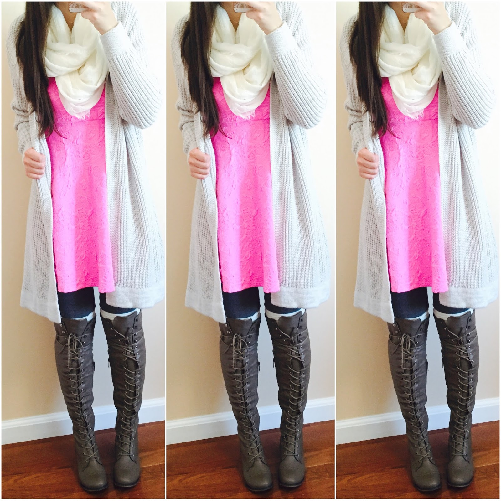 20 ways to style a pink dress, pink blush, pink dress with a sweater over it, knit sweater, brown over the knee boots, amiclubwear, fall outfit, how to style a dress for fall with boots,  two toned over the knee boots, pink knit sweater over a pink dress, how to style a knit sweater, fall to winter outfit, winter outfit, ankle booties, pinkblush draped cardigan, striped cardigan, ankle booties, grey cardigan, beige over the knee boots, white scarf, how to make a summer dress into a fall outfit,