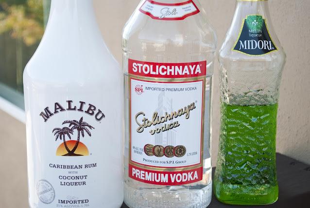 Bart Simpson Shooter, malibu rum, coconut rum, vodka, midori, melon liqueur, The Simpsons