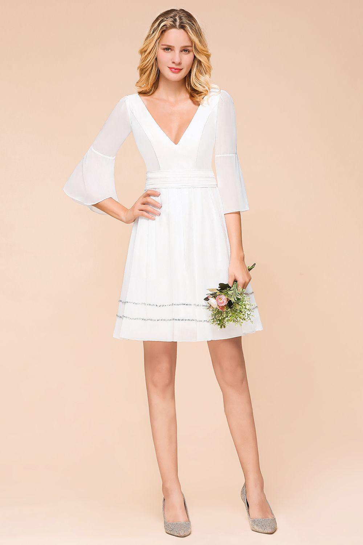 chic, short bridesmaid dress for rustic wedding ceremony