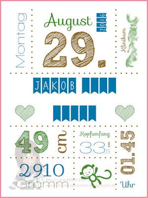 Stampin' Up! rosa Mädchen Kulmbach: Babykarte und Geburtsplakat mit Eule