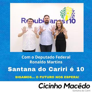 CÍCERO MACÊDO SE ENCONTRA COM RONALDO MARTINS DEPUTADO FEDERAL