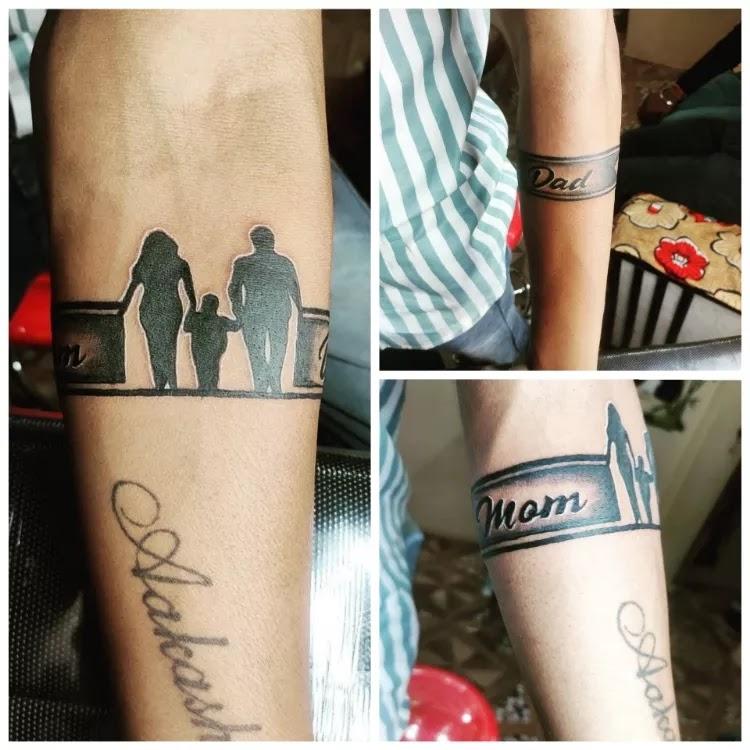 Mom dad & you, tattoo on hand