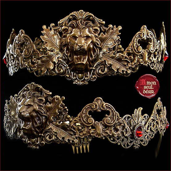 couronne lion medievale bijoux game of thrones Cersei Lannister circlet crown medieval fantasy jewelry queen renaissance fair fashion