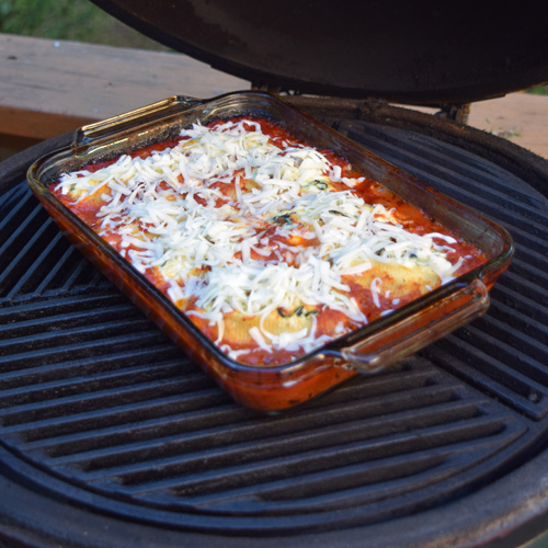 Cooking spinach and cheese stuffed shells on the Big Green Egg kamado grill