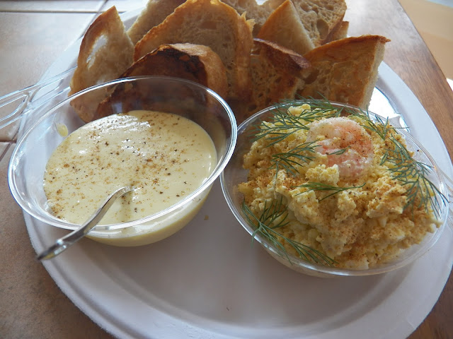 Egg Salad with Shrimp and toast