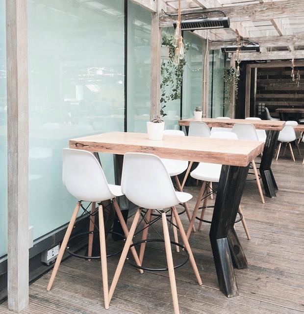 Restaurant, al fresco, wooden floor, modern furniture