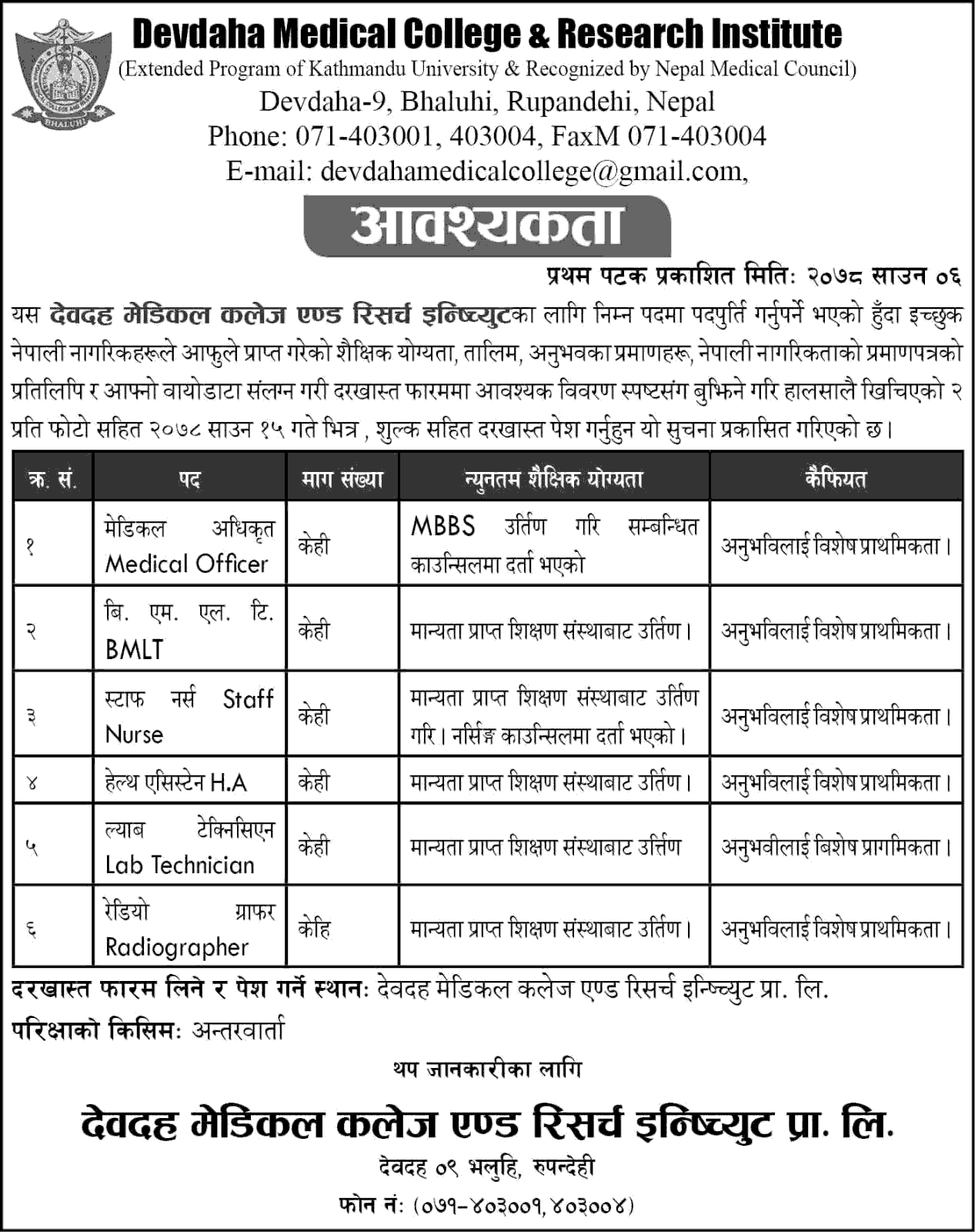 Devadaha Medical College and Research Institute Vacancy Announcement