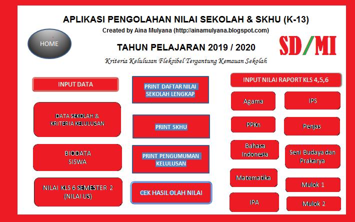 Aplikasi SKHU SD Kurikulum 2013 Tahun 2020