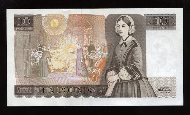 British 10 Pounds note, Bank of England, Florence Nightingale