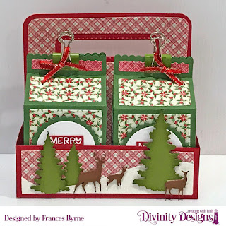 Stamp Set: Christmas Birdhouses (sentiment)  Custom Dies: Milk Carton With Layers, Milk Carton Holder,Circles, Scalloped Circles, Curvy Slopes, Trees & Deer  Paper Collection: Holly Jolly