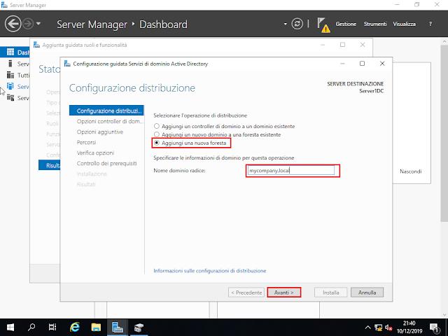 Windows Server 2019, Aggiungi una nuova foresta
