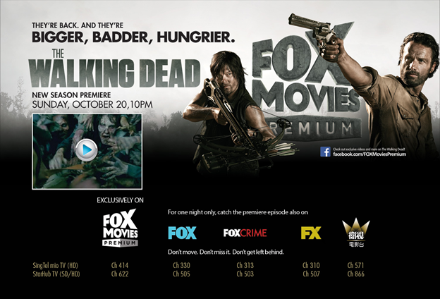 A 2013 advertisement on Fox's offering of the wildly popular The Walking Dead series / Image Credit: hpility.blogspot.com