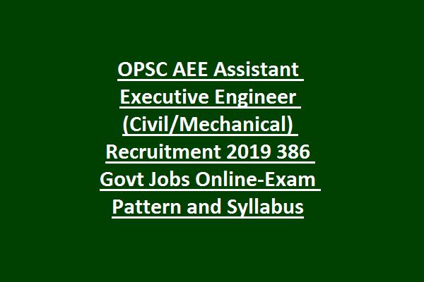 Odisha OPSC AEE Assistant Executive Engineer (Civil