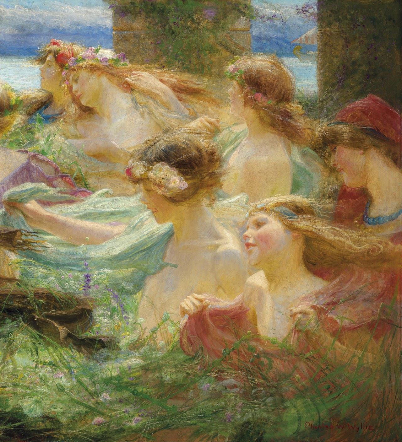 Charles William Wyllie On the way to the festival detail