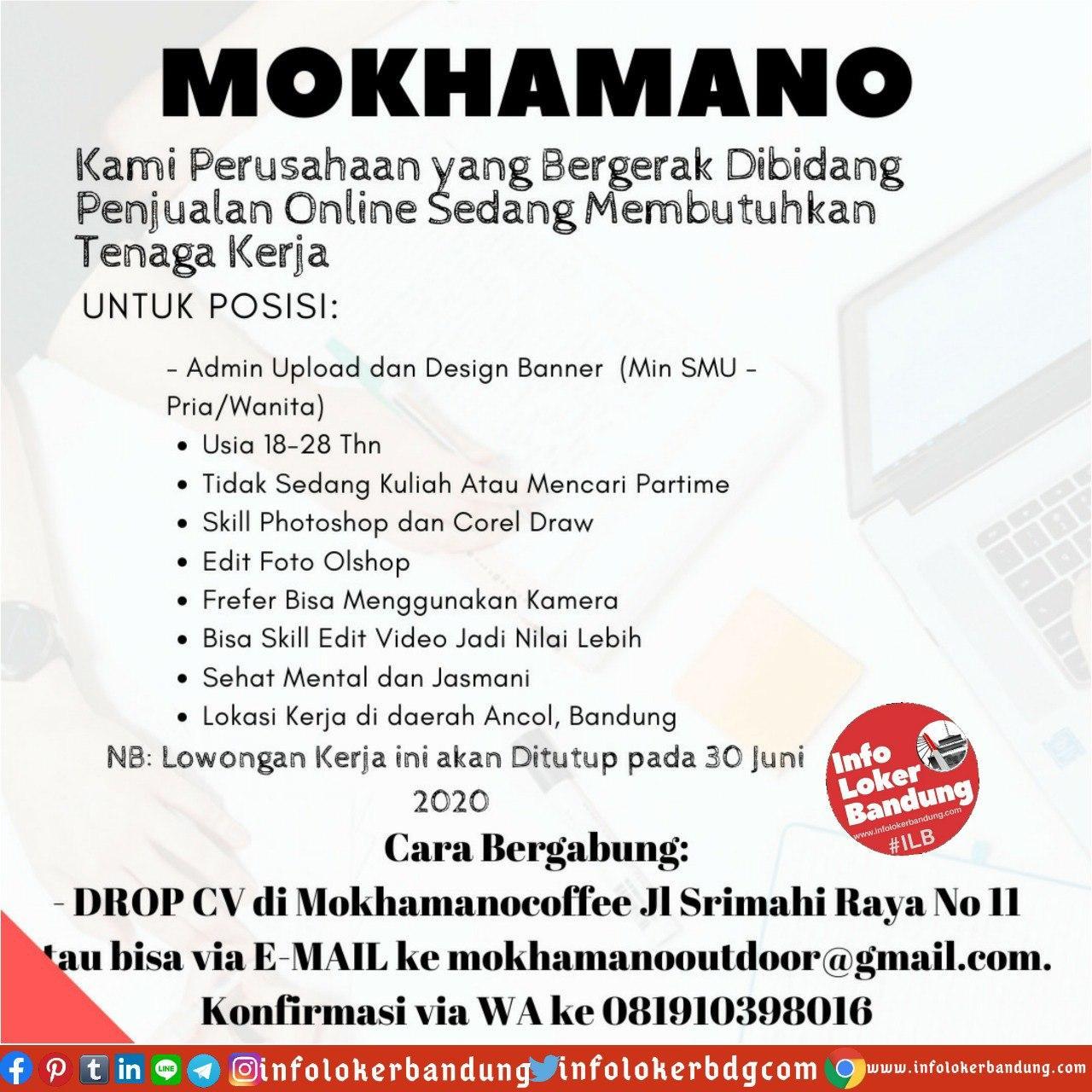 Lowongan Kerja Mokhamano Bandung Juni 2020