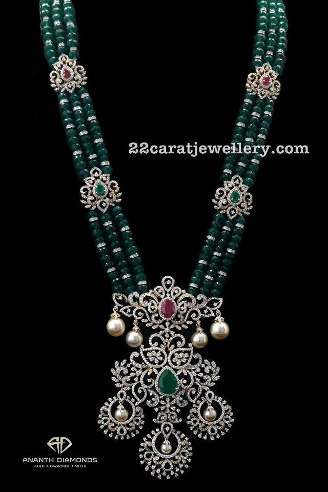 Emerald Beads Set Diamond Locket