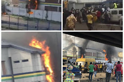 Hoodlums set Orile police station in Lagos on fire Amidst The Ongoing # Endsars Protest(photos/videos)