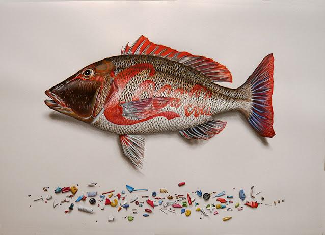Dessin d'un poisson empereur au teintes rouges avec des fragments de plastiques dessinés en dessous
