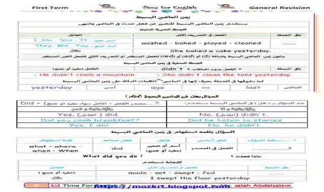 مراجعة ليلة الامتحان فى اللغة الانجليزية للصف الخامس الابتدائى الترم الاول 2021 اعداد مستر صلاح عبدالسلام