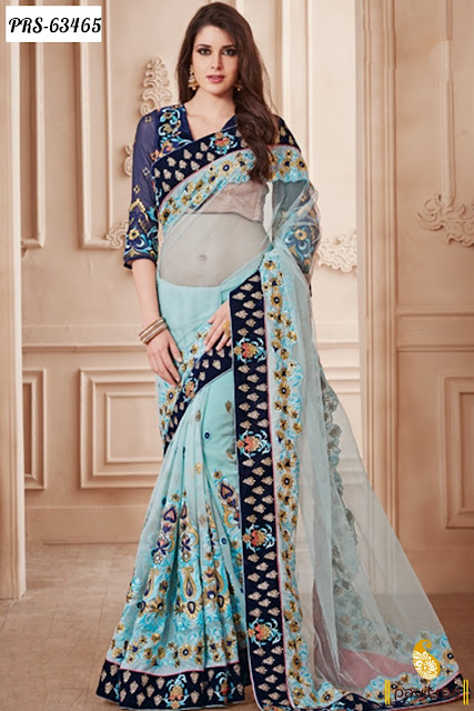 sky color net sarees designer collection with bemberg piece online shopping