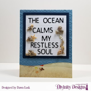 Custom Dies: Letter Board, Leafy Edged Borders, Embossing Folder: Fish,  Paper Collection: By the Shore