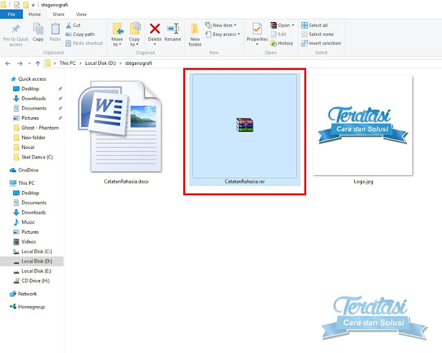 Hasil Compress File Yang Ingin Disembunyikan Menjadi Format Rar - Tutorial Menyembunyikan Gambar ke Dalam File Gambar Dengan Teknik Steganografi - Teratasi.com