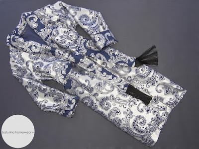 Eleganter Morgenmantel Paisley Seide Jacquard Edel Gefüttert Morgenmantel Herren Luxus Exklusiv Hausrock Morgenrock Lang Blau Silber.
