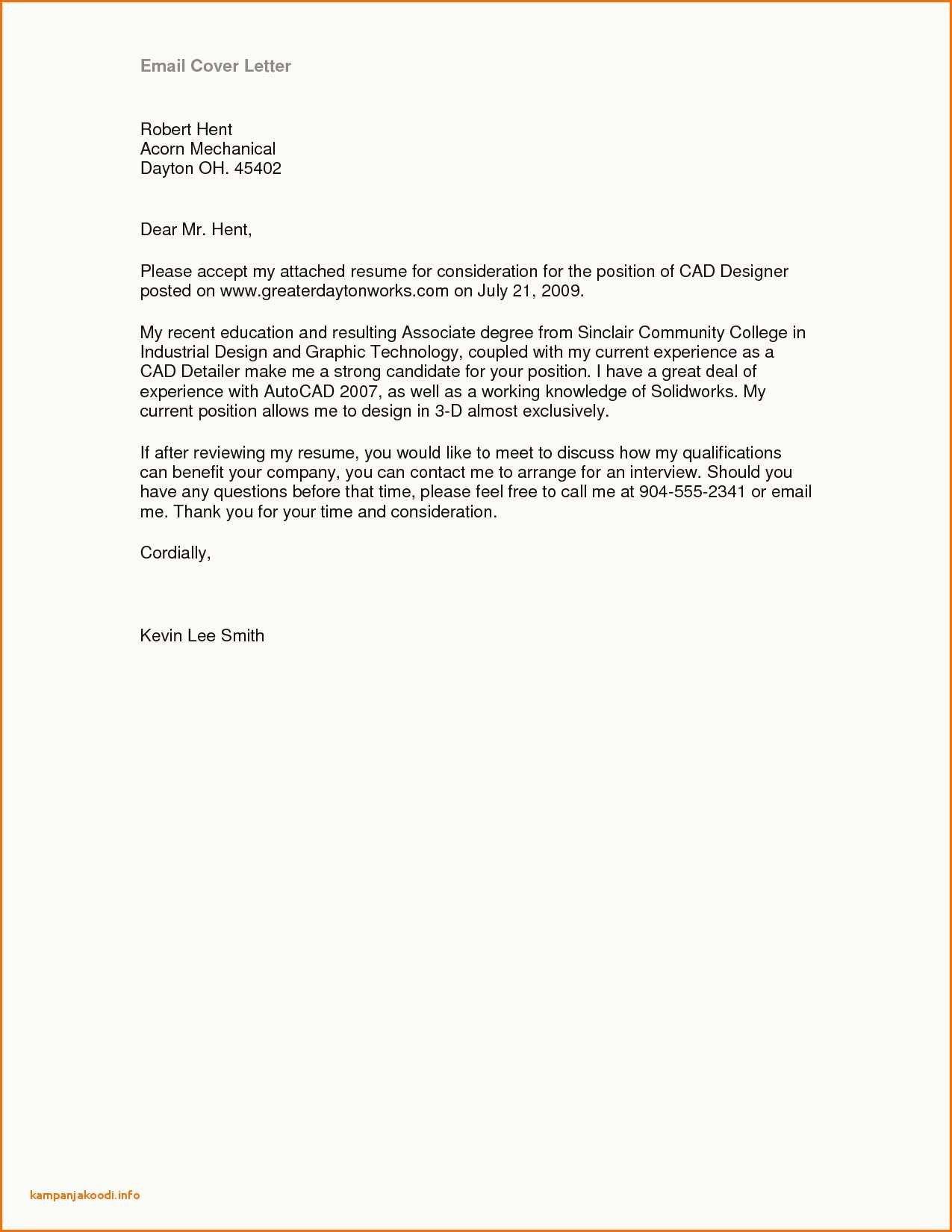 Cover Letter Email Resume Sample