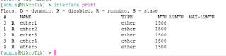 List Interface Mikrotik