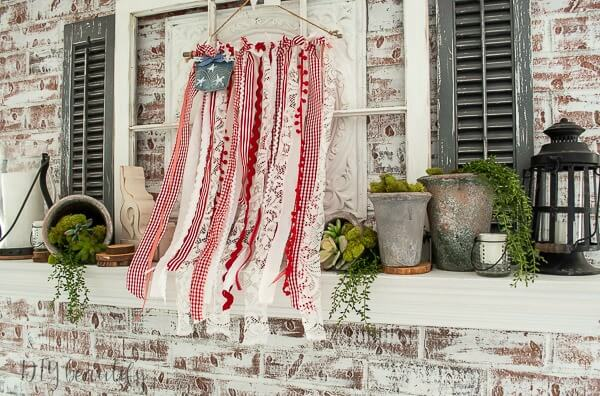 ribbon flag and farmhouse mantle