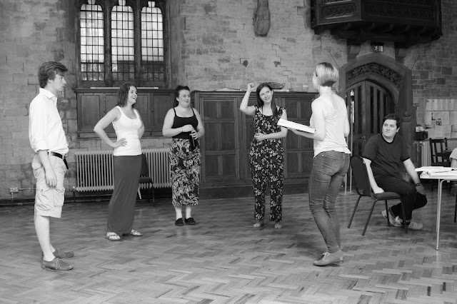 In rehearsal for Mozart's The Garden of Disguises at the Ryedale Festival:Robin Horgan (Podestà) Jessica Cale (Serpetta) Clare Tunney (Arminda) Anna Harvey (Ramiro) Nina Brazier (Director) Kieran Carrel (Count Belfiore)