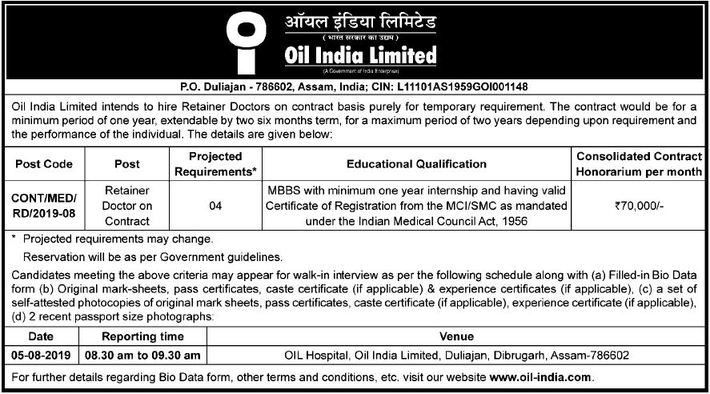 Oil India Limited, Duliajan Jobs