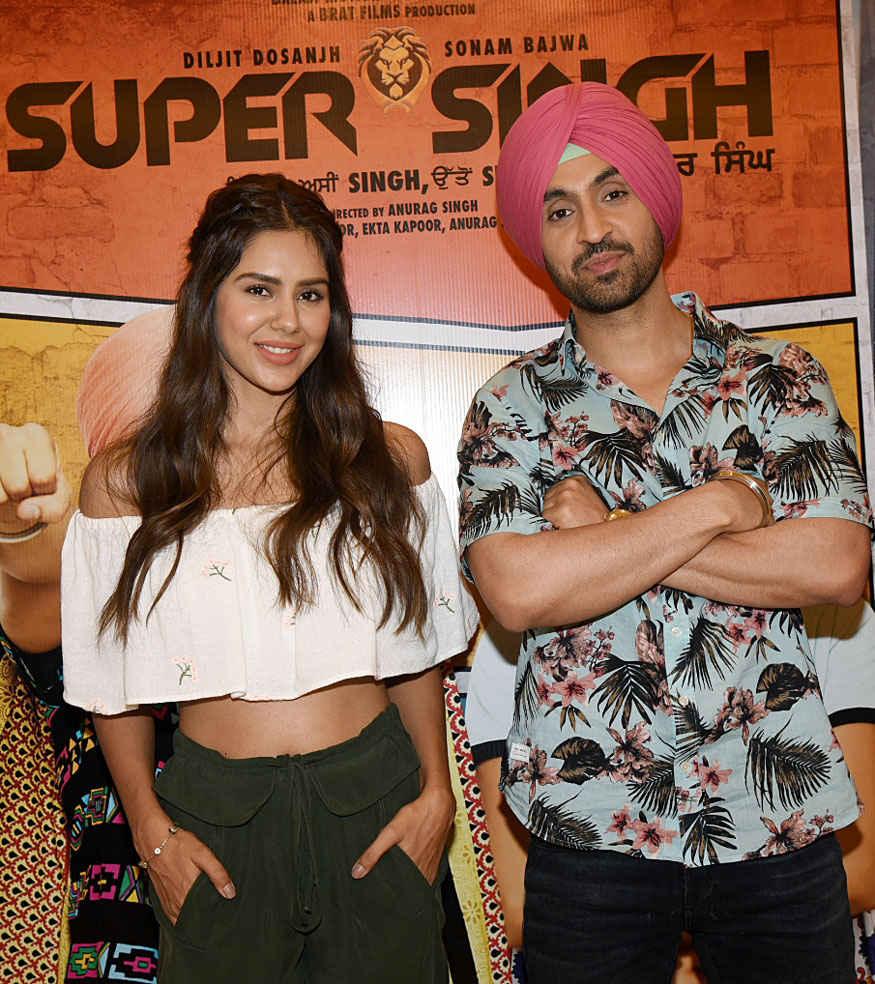 Diljit Dosanjh and Sonam Bajwa Promoting Their Film Super Singh