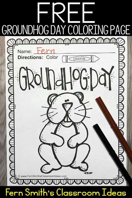 One FREE Groundhog Day Coloring Page for Your Classroom from Fern Smith's Classroom Ideas.