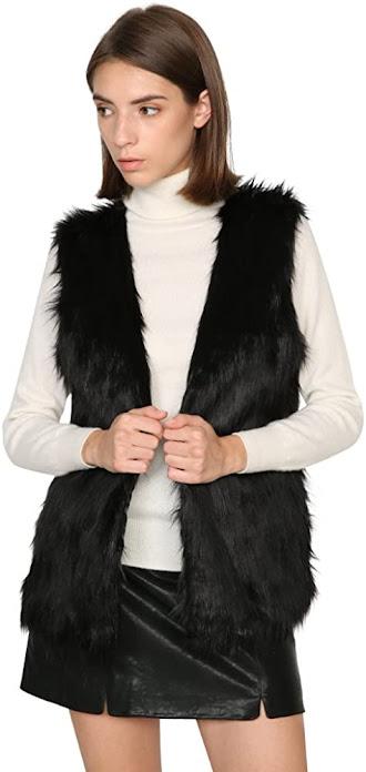 Cute Black Faux Fur Vests for Women