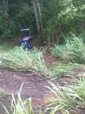 Condutor perdeu controle de carro ao passar por poça de água (Foto: Divulgação/Polícia Militar)